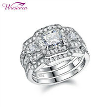 Princess Cz 925 Sterling Silver 5-12 Wedding Engagement Ring Set For Women 1.6ct