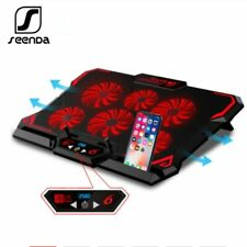 Laptop Cooling Pad 17in Gaming Cooler Stand Notebook Mat Six Fan Led Screen PC