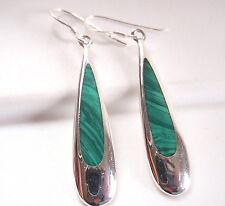 Green Malachite Drops of Silver 925 Sterling Silver Dangle Earrings