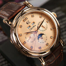MEN'S CROMA JEWELRY AUTOMATIC MOON PHASE DAY&DATE GOLD TONE DIAL WATCH