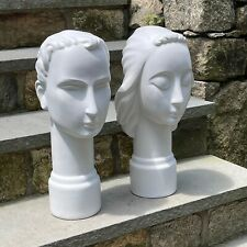 Vintage Pair of Art Deco White Ceramic Busts, Head Sculptures by Frank Graham