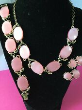 Vtg. Gold-tone Pink Moonglow  Thermoset Choker & Clip On Earrings Bracelet-44