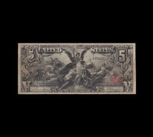 "GORGEOUS 1896 $5 SILVER CERTIFICATE ""EDUCATION"" FINE/VERY FINE"