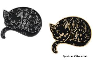 Cat Pin Badge Brooch Enamel Gift Black Silver Gold Jewellery Kitten Ladies Lover