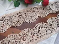 Nice`Again@Vintage Style Wide Hand Crochet Lace Beige Cafe Curtain Swag
