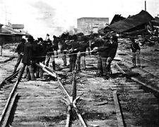 New 8x10 Civil War Photo: Michigan Regiment Destroying Railroad Tracks