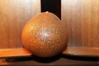 Antique Carved Gourd Peru Scrimshaw Peruvian Folk Art From Estate of a Professor
