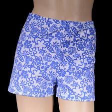 Girls Blue/White Flower Bike Shorts, Cal Dance Gym Gymnastics Roller Sports Swim