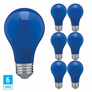 6 Pack CERAMIC BLUE LED Bulb A19 Medium E26 8W 60 Watt Equivalent Damp Location
