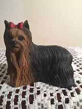Standing Yorkshire Terrier black & Brown Stone Resin Figurine