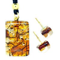 Murano Glass Pendant Stud Earrings Set Orange from Venice
