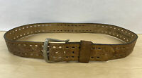 Vintage King Genuine Cowhide Western Belt Brown Flower Leaves Size 40
