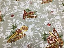 Cotton Fabric Hawaiian Floral Hibiscus Vintage Woody Station Wagon Surf Board