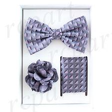 lapel pin 3 piece set gray plaid New in box Brand Q Men's bowtie hankie