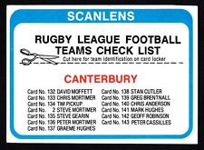 SCANLENS 1979 CANTERBURY CHECK LIST UNMARKED