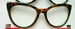 Betsey Johnson LARGE CAT EYE Reading Glasses +2.50 Strength Tortoise NEW