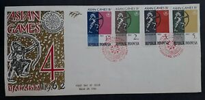 1962 Indonesia Asian Games, Jakarta FDC ties 4 Stamps cd Bandung w card