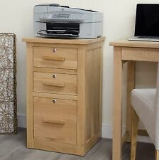 Arden solid oak furniture three drawer stationery filing cabinet with locks