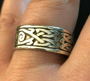 Sterling Silver Ring Celtic Irish Band Wide Tribal Mens Sz 9-9.25 5.5g 925 #1245