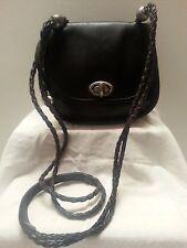 Vtg Brighton Black Leather Shoulder Bag Purse Crossbody Heart Silvertone 083443