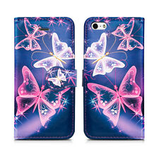 Flip Wallet Leather Cover Case for Apple iPhone 4s 5 5s SE 6 6s 7 & Plus Models iPhone 7 Pink Butterfly - Butterflies White Purple Midnight