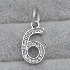 Silver CZ Crystal Number Six 6 Pendant Charm Bead Suit Bracelet Necklace DIY
