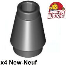 Lego - 4x Cone 1x1 with Top Groove Black/Black 4589b New