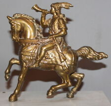 1977 HORSE RIDER WITH HORN BRASS PLATED METAL STATUETTE SIGNED