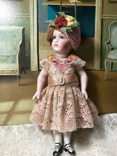 """Vtg pale pink cotton French embroidery lace dress set for mignonette doll 7.5"""""""