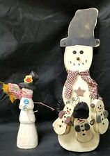 Snowman Decorations: Wooden Set of 2 Christmas Holiday Decor Winter Baby Snowmen