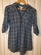Charlotte Russe Juniors Blue Plaid Cotton Top 3/4 Sleeve Button Up Size M