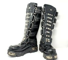 New Rock Boots Size 10.5 Mens Black Leather Studded Steampunk Biker Motorcycle