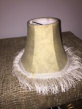 Lamp Shade Bell Shape Light Tan Leather like with ivory fringe detail clip on