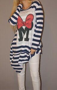 Shirt Pullover Pulli Kleid Longtop Disney Minnie Mouse Schleife Blau Marine Top