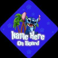 Personalised Stitch Child/Baby on Board Car Sign New ~ Lilo New! Stitch