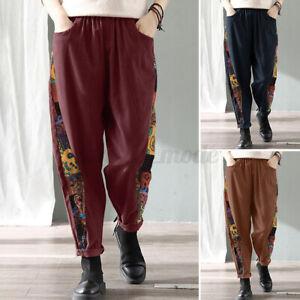 UK Women High Waist Chino Pants Ladies Printed Cargo Casual Loose Harem Trousers