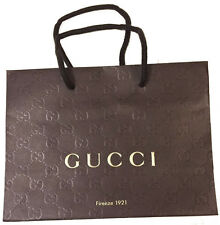 "Authentic Gucci Brown Paper Gift Shopping Bag 9"" x 3.75"" x 6.5"" Firenze 1921 New"