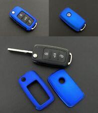 VW SEAT SKODA Remote FLIP CHIAVE COVER GUSCIO PELLE PAC FOB protezione BLU