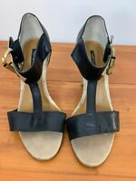 Tony Bianco Leather T Bar Shoes Black & Brown Heel