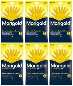 6 PAIRS Marigold Extra Life Kitchen Rubber, Latex Gloves. SIZE : Small