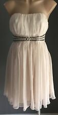 Retro VALLEYGIRL Ivory Gathered Strapless Beaded Empire Waist Dress Size 12