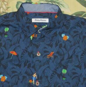 TOMMY BAHAMA Blue Short Sleeve Printed Hawaiian Shirt Silk Cotton Blend M