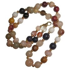 Collar de perlas ágata multicolor piedra semi preciosa joya auténtica moda