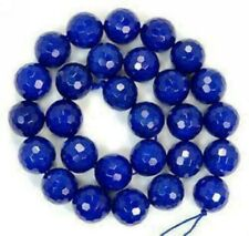 Natural 8mm Faceted Blue Sapphire Gemstone Round Loose Beads 15''AAA