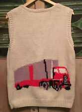 VTG 1970s Trucker BIG RIG Cardigan Sweater Vest Full Zip HANDMADE RARE RETRO