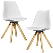 B-WARE [en.casa] 2x Design Stühle Esszimmer Weiß Stuhl Holz Plastik Kunst-Leder