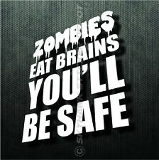 Zombies Eat Brains Funny Bumper Sticker Vinyl Decal Walking Dead Car Truck SUV