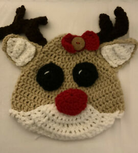 Infant Handmade Crochet Reindeer Beanie Hat 6/9 Mos.