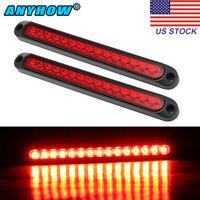 "2X Red 10"" Waterproof 15-LED Truck Trailer Light Bar Rear Brake Tail Light Strip"