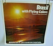 "BRANIFF AIRLINES INTERNATIONAL POSTER ""Brazil Flying Colors"" ORIGINAL 1970-80s"